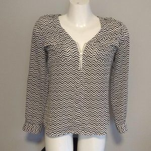 Candies black and white blouse with zip front, EUC